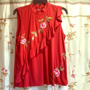 Red sleeveless blouse Sz L. Embroidery floral.
